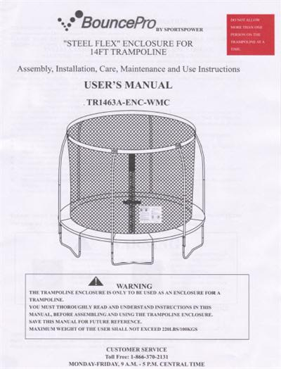 Trampoline Manual For The 14 Bounce Pro Enclosure Model Tr1463a Enc Wmc